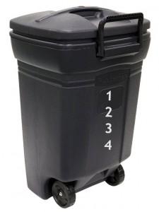 Amazon.com  United Solutions Rubbermaid 45 Gallon Wheeled Rectangular Trash Can  Evergreen  Patio  Lawn   Garden