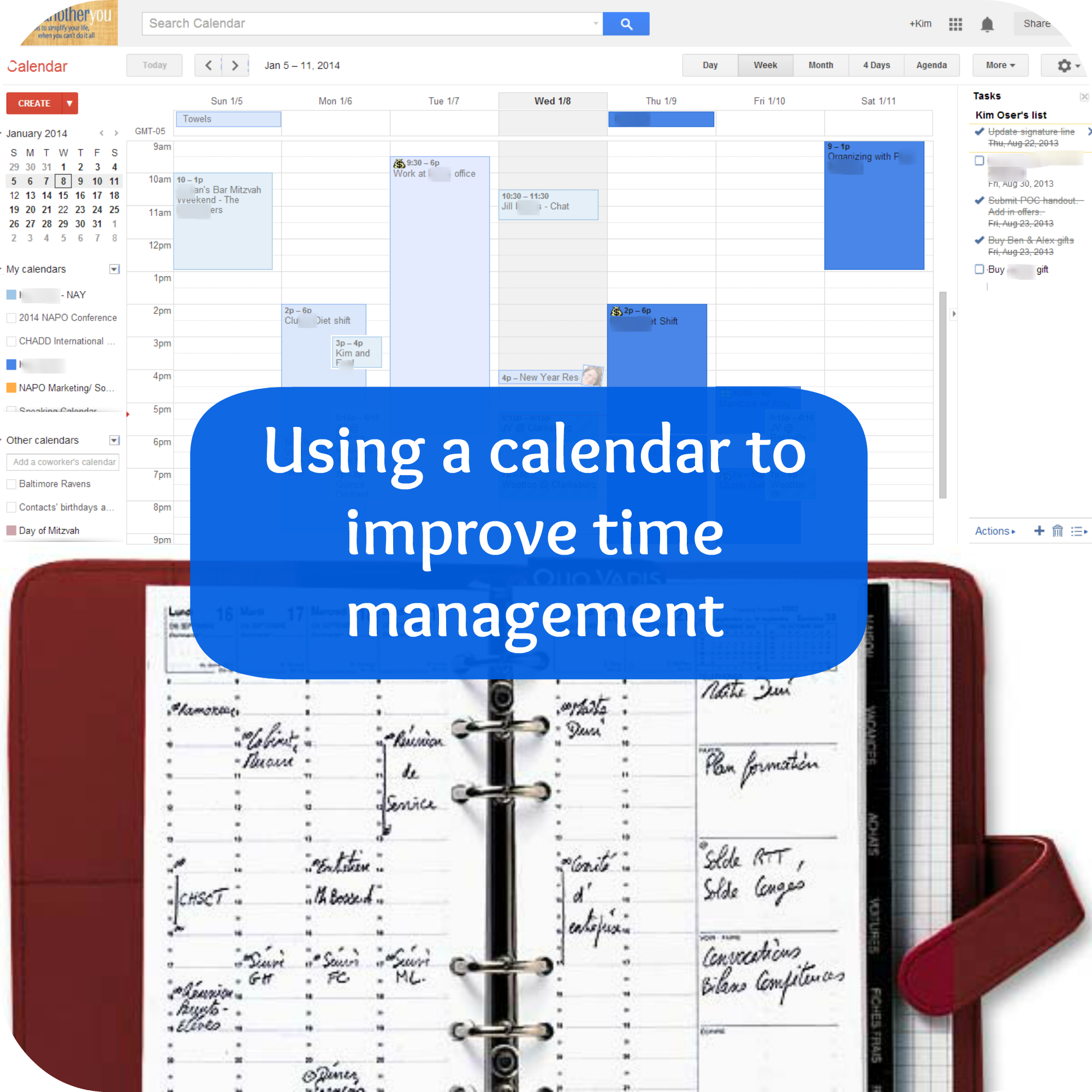 Using a calendar to improve time management